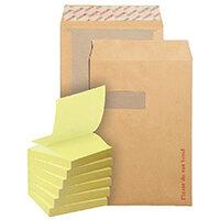 New Guardian C4 Board Back Window Envelope (Pack of 125) FOC Post-it Notes Yellow Pk6 JDB814016