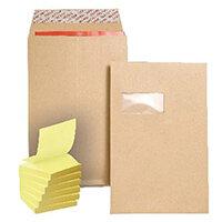 New Guardian C4 Gusset Window Envelope Manilla (Pack of 100) FOC Post-it Notes Yellow Pk6 JDJ814008