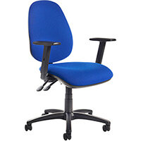 Jota high back operator chair with adjustable arms, chrome base, seat slide and lumbar - made to order