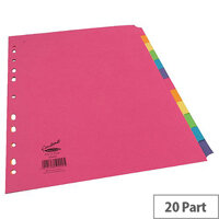 Concord Bright A4 Subject Divider Extra-Wide 20-Part Assorted 10 Pack