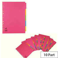 Concord A4 Extra Wide Bright 10-Part Dividers Pack of 20