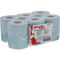 WypAll L10 Food Hygiene Centrefeed Paper Rolls 1-Ply 6 Rolls/430 Wipes Blue Pack of 2580 6223