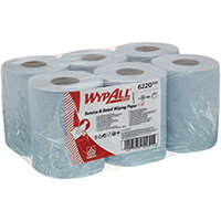 WypAll L10 Service Retail Centrefeed Paper Rolls 1-Ply 6 Rolls/280 Wipes Blue Pack of 1680 6220
