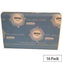 Kleenex Ultra Multifold Paper Hand Towels 1 Ply 4375 150 Towels Per Sleeve 16 Sleeves (2400 Sheets)