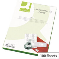 Q-Connect Copier Labels 70x37mm 24 per A4 Sheet Butt Cut Pack of 100 White
