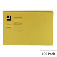 Q-Connect Yellow Square Cut Folder Medium Weight 250gsm Foolscap Pack of 100