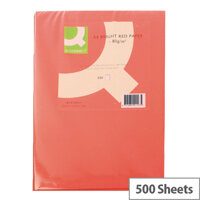 Q-Connect A4 Bright Red Paper Coloured Copier Card 80gsm Ream of 500
