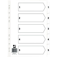 Q Connect Index 1-5 Board Reinforced White Pack of 50 KF01527Q