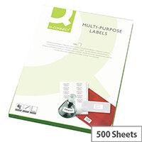 Q-Connect 21 Per Sheet Multi-Purpose Labels 63.5x38mm (10500 Labels)