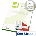 Q-Connect 21 Per Sheet Multi-Purpose Labels 63.5x38mm (10500 Labels)