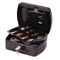 Q-Connect Compact Cash Box Black – 8 Inch, Key Lock, 8 Coin Compartments, Metal Handle, 2 Keys, Removable Tray, Suitable For Outside Environments & 196x155x87mm (KF02602)