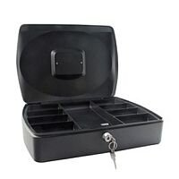 Q-Connect Standard 10 Inch Key Lock Cash Box Black