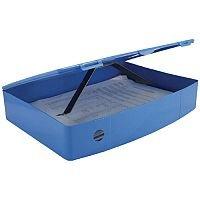 Foolscap Box File Blue Plastic Twin Clip Lock 78mm Spine Q Connect