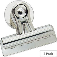 Q-Connect Heavy Duty Magnetic Bulldog Clip 75mm Silver (Pack of 2)