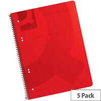 Q-Connect Spiral Book A4 Polypropylene Transparent Red 5 Pack KF10038