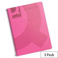 Q-Connect Spiral Book A4 Polypropylene Transparent Pink 5 Pack KF10038