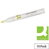 Q-Connect Paint Marker Pen White Pack of 10 KF14452