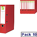 Q-Connect Red A4 Polypropylene Lever Arch File Pack of 10