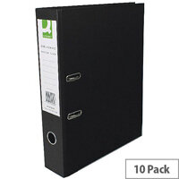 Foolscap Lever Arch Files 70mm Black Pack of 10 Q-Connect
