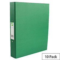 Q-Connect Green A4 Paperbacked Ringbinder Pack of 10 KF20037
