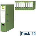 Q-Connect Lever Arch File A4 Paper-Backed Green 10 Pack