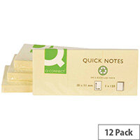 Q-Connect Recycled Yellow Sticky Notes 38 x 51mm 120 Sheet Pack 12