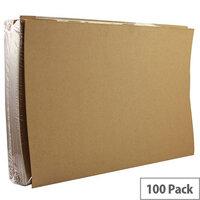 Square Cut Folder 170gsm Kraftliner Foolscap Buff Pack 100 Q-Connect KF23025