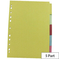 5-Part Subject Dividers A4 Multipunched Assorted Colour Q-Connect KF26081