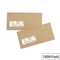 Q Connect Manilla DL Envelope Gummed Wallet Low Window 70gsm Pack of 1000