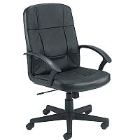 Jemini Medium Back Leather Look Executive Office Armchair Black, Seat Height adjust 450-550mm, Weight Capacity for up to 114kg, Back Rest Height is 590mm, Designed with comfort in mind, includes deep cushions