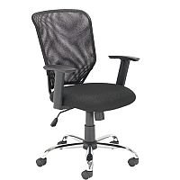 Mesh Back Office Chair With Arms & Chrome Base Black - Tilt Tension Adjustment Mechanism - recommended usage time of 5 hours a day - ideal chair for an office or home office