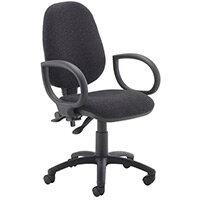 First High Back Operators Office Chair Charcoal with Fixed Arms KF839242