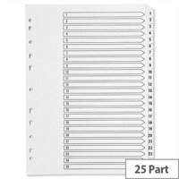 Index A4 Multi-Punched 1-25 Reinforced White Board Clear Tabbed Subject Dividers Q-Connect KF97056