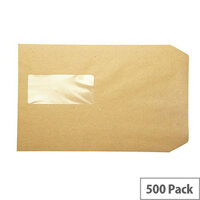 Q-Connect Pocket Envelopes C5 Window 115gsm Manilla Peel and Seal Pack of 500 KF97370