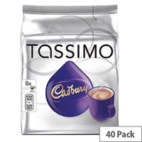 Tassimo T-Discs Cadbury Hot Chocolate 8x5 Sleeves (Pack of 40 Capsules) - Makes 40 Drinks