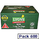 Lyons Original Blend 600 1 Cup Tea Bags Pack 600