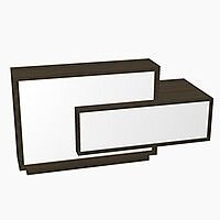 Foro Modern Design Reception Desk With High Gloss White Front and Chestnut Carcass & Left Low Level Section W2100mmxD800mmxH1100mm
