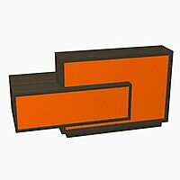 Foro Modern Design Reception Desk With High Gloss Orange Front and Chestnut Carcass & Right Low Level Section W2100mmxD800mmxH1100mm