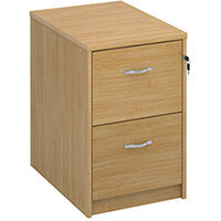 Deluxe 2 drawer filing cabinet with silver handles 730mm high - oak