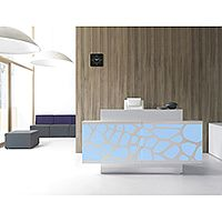 Organic Modern Illuminated White Straight Reception Desk with Central Decorative Element W2000mmxD770mmxH1105mm
