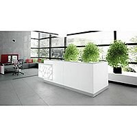 Organic Modern Illuminated White Corner Reception Desk with Left Decorative Element W3100mmxD1370mmxH1105mm