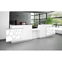 Organic Modern Illuminated Straight White Reception Desk with Decorative Element W4100mmxD1350mmxH1105mm
