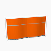 Wave Modern Design Straight Reception Desk with White Counter Top & High Gloss Orange Front W1996xD770xH1103mm