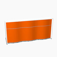 Wave Modern Design Straight Reception Desk with White Counter Top & High Gloss Orange Front W2306xD770xH1103mm