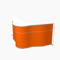 Wave Modern Design Curved Reception Desk with White Counter Top & High Gloss Orange Front W1810xD1810xH1103mm