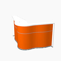Wave Modern Design Curved Reception Desk with White Counter Top & High Gloss Orange Front W1810xD1590xH1103mm