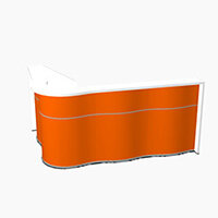 Wave Modern Design  L-Shaped Reception Desk with White Counter Top & High Gloss Orange Front W2340xD1590xH1103mm