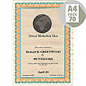 DECAdry A4 Orange/Turquoise Bordered Certificate Paper 115gsm Pack of 70