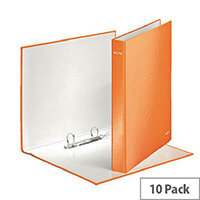 Leitz WOW A4 Plus 25mm 2 D-Ring Binder Orange Pack of 10 42410044