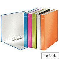 Leitz WOW A4 Plus 25mm 2 D-Ring Binder Assorted Pack of 10 42410099